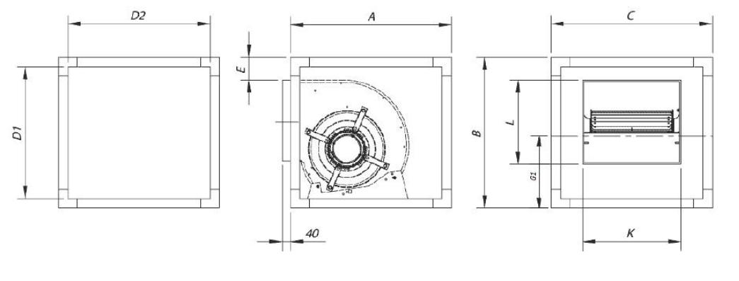 Dimensiuni ventilator centrifugal carcasat box