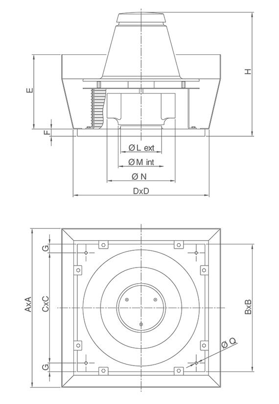 Dimensiuni ventilator de acoperis diametru 200 mm