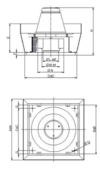 Dimensiuni ventilator de acoperis diametru 250 mm