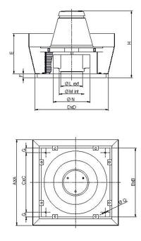 Dimensiuni ventilator de acoperis cu diametru 250 mm