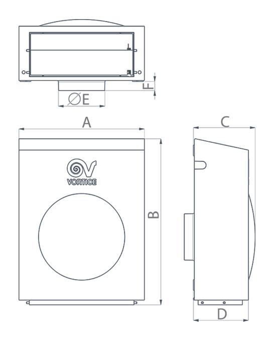 Dimensiuni pentru ventilator de perete cu montaj la exterior