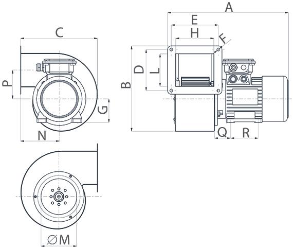 Dimensiuni ventilator centrifugal Vorticent C 10/2 M