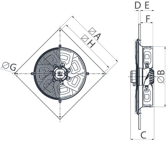 Dimensiuni ventilator de perete Vorticel A-E