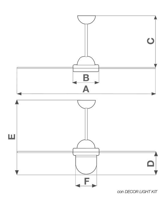 Dimensiuni ventilator de tavan Nordik Design